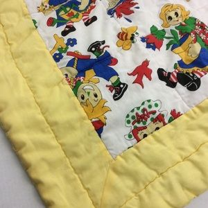 Vintage Handmade Raggedy Friends Yellow Baby Quilt